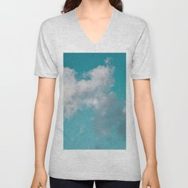 Floating cotton candy with blue green Unisex V-Neck