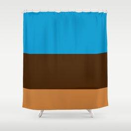 Tri-Color [Blue, Chocolate, Tan] Shower Curtain