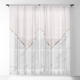 Peony blush geometric marble Sheer Curtain