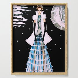 Ethereal Beauty Fashion Illustration By James Thomas Ryan Serving Tray