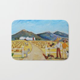 The Enmedio Ranch El Rancho de Enmedio Oil on Canvas Juan Manuel Rocha Kinkin Bath Mat