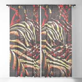 1206s-AK Abstract Striped Nude Rendered in Red Yellow and Gold Sheer Curtain