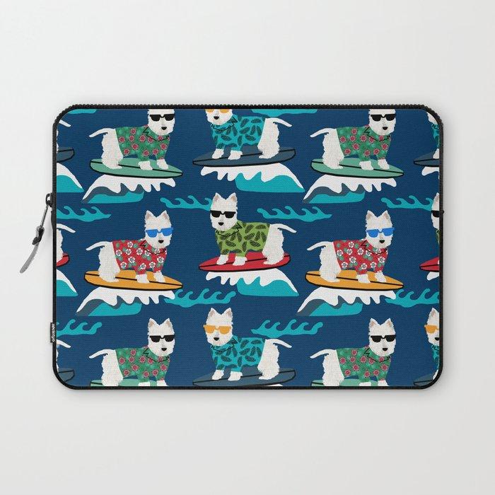 Westie surfing west highland terrier summer fun dog breed Laptop Sleeve