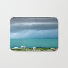 Before summer storm view at a turquoise lake Bath Mat
