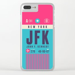 Retro Airline Luggage Tag - JFK New York Clear iPhone Case