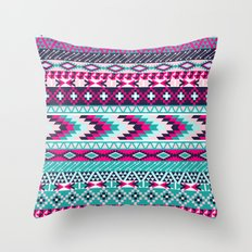 Navy Turquoise Pink Tribal Throw Pillow