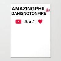 danisnotonfire Canvas Prints featuring Amazingphil and danisnotonfire by downeymore