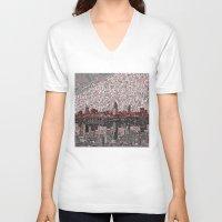 cleveland V-neck T-shirts featuring cleveland city skyline by Bekim ART