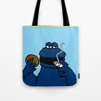 cookie monster Tote Bags featuring Cookie Monster by M.REYES
