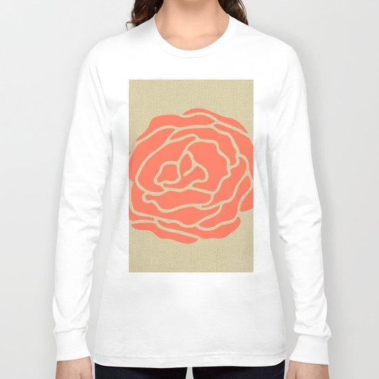 Rose Deep Coral on Linen Long Sleeve T-shirt
