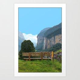 Switzerland alps, Swiss mountains and waterfall. Lauterbrunnen. Art Print