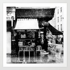 Snow falling in the West End Art Print