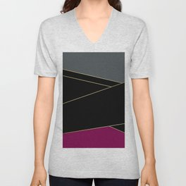 Angelica . Burgundy , gray , black Unisex V-Neck