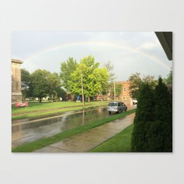 Rainbow on a cloudy day Canvas Print