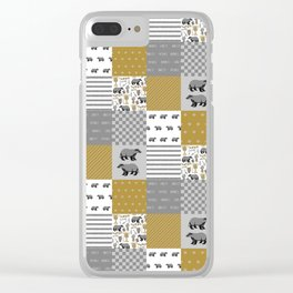 Badger House cheater quilt patchwork wizarding witches and wizards Clear iPhone Case