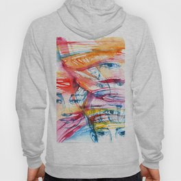 Abstract watercolor painting with faces Hoody