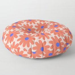 Crayon Flowers 3 Cheerful Smudgy Floral Pattern in Coral and Bright Blue on Millennial Pink Floor Pillow
