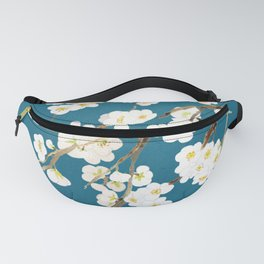 white plum flowers in blue background  Fanny Pack