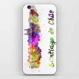 Santiago de Chile V2 skyline in watercolor  iPhone Skin