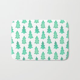 Christmas Trees With One Decorated Tree Bath Mat