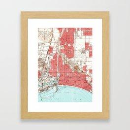 Vintage Map of Long Beach California (1949) 3 Framed Art Print