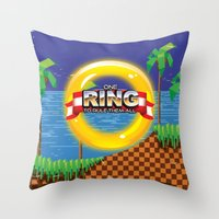 video game Throw Pillows featuring Retro Platform Video game poster  by Nick's Emporium Gallery