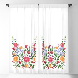 Hungarian folk pattern – Kalocsa embroidery flowers Blackout Curtain
