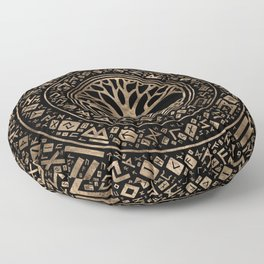 Tree of life -Yggdrasil Runic Pattern Floor Pillow
