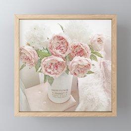 Shabby Chic Cottage Farmhouse Romantic Chic Pink Peonies In Fresh Market Flower Bucket Framed Mini Art Print