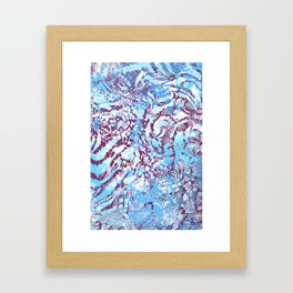 animal skin layers textured in teal and deep purple Framed Art Print