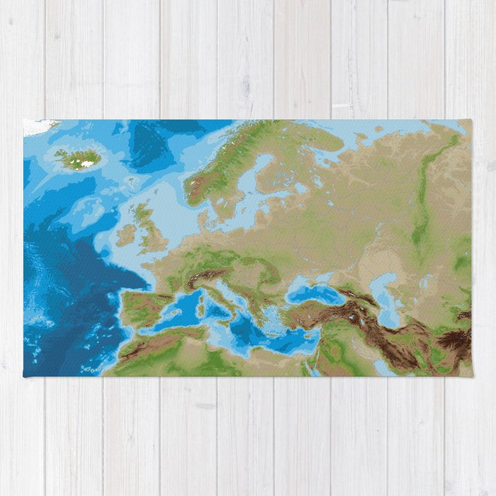 Topographic Map Of Europe Rug By Blursbyaishop Society6