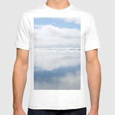 Two Blue Skies MEDIUM White Mens Fitted Tee