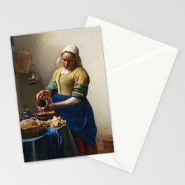 The Milkmaid by Johannes Vermeer Stationery Cards