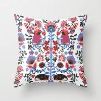 folk Throw Pillows featuring The Pug of Folk  by Huebucket