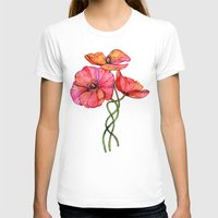 peach T-shirts featuring Peach & Pink Poppy Tangle by micklyn