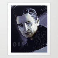 johnny cash Art Prints featuring Johnny Cash by Luis Dourado