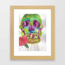 Skull and rose, mixed media Framed Art Print