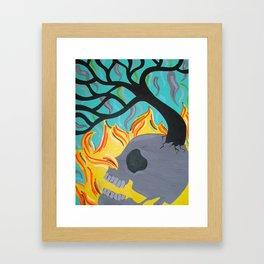 Fire Skull Tree Framed Art Print