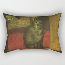 Cat in the art – Aertsen – vegetable and fruit stand- detail Rectangular Pillow
