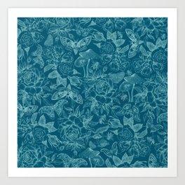 Botanical Pattern Cyan Art Print