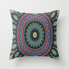 Lovely Healing Mandalas in Brilliant Colors: Black, Wheat, Slate Gray Red and Purple Throw Pillow