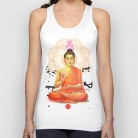 buddha Tank Tops featuring Buddha by O. Be