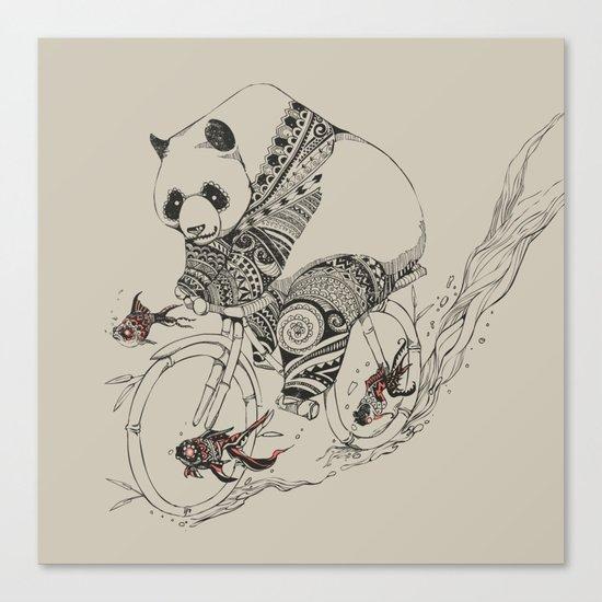 Panda and Follow Fish Canvas Print