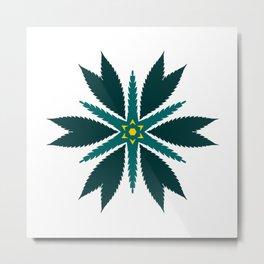 Cannabis Leaf Starflower (Green Yellow) Metal Print