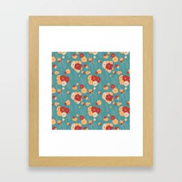 Anemone Floral Bouquets on Blue Framed Art Print