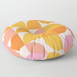 Mid Century Mod Geometry in Pink and Orange Floor Pillow