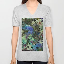 Deep In Thought - Black, blue, purple, white, abstract, acrylic paint splatter artwork Unisex V-Neck