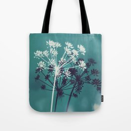 Twilight Stars. Botanical Macro Abstract in Blue. Tote Bag