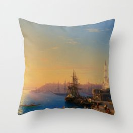 View of Constantinople and the Bosphorus Landscape Masterpiece by Ivan Aivazovsky Throw Pillow