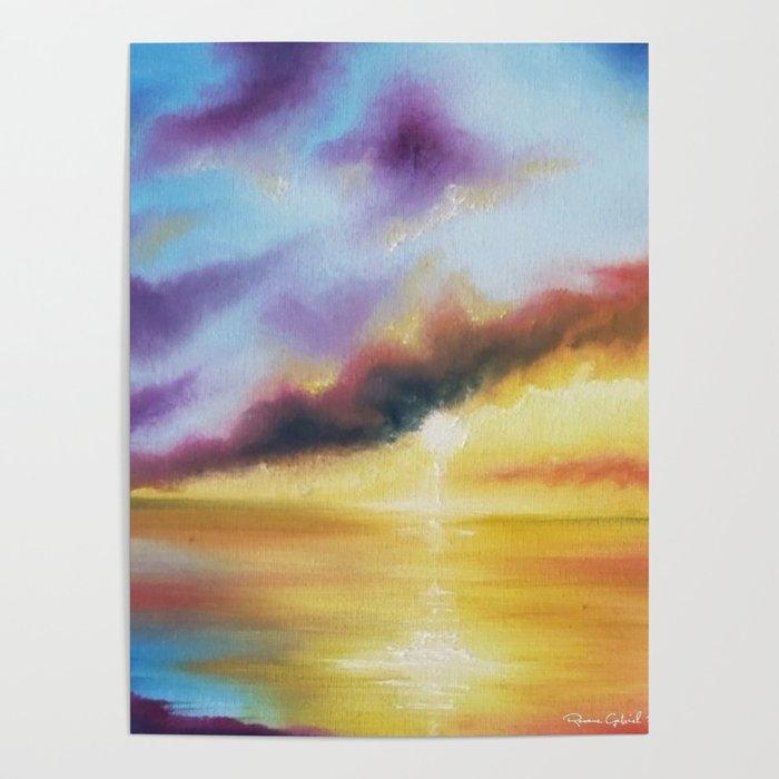 Rainbow Sunset Painting Bright Beach Painting Light Beautiful Sunset Art Original Artwork Sunset Poster By Roxanegabriel